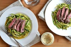 """<p>Zucchini alfredo noodles topped with sliced steak. <strong>Recipe here</strong> > <strong><a href=""""http://kitchen-tested.com/2014/03/17/steak-and-zucchini-horseradish-alfredo/"""" target=""""_blank"""">STEAK & ZUCCHINI HORSERADISH ALFREDO</a></strong></p>"""