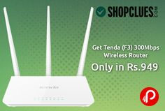 @shopclues #offers Tenda (F3) 300Mbps Wireless Router with 3 Fixed Antenna, 3LAN, 1WAN Port (TE-F3) Only in Rs.949. Coupon Code – SCBSLPT1 Extra 10% off on American Express cards Extra 10% off on Axis Bank cards PayUmoney – Extra 5 % Instant discount http://www.paisebachaoindia.com/get-tenda-f3-300mbps-wireless-router-only-in-rs-949-shopclues/