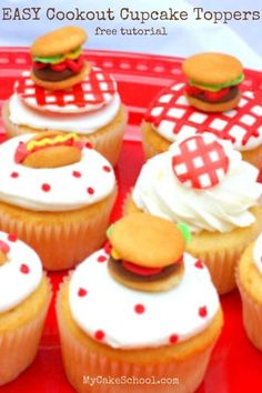 Learn how to make cute and EASY Cookout Cupcake Toppers! These cupcakes are so much fun for cookouts and summer birthdays! #cookoutcupcakes #cookoutcupcaketoppers #hamburgercupcakes #hotddogcupcakes #summerbirthdaycupcakes Cupcake Flavors, Cupcake Recipes, Cookie Recipes, Dessert Recipes, Cupcake Ideas, Tart Recipes, Cheesecake Recipes, Sweet Recipes, Baking Recipes