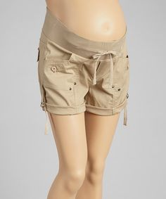 Love this Khaki Roll-Tab Under-Belly Maternity Shorts - Women on #zulily! #zulilyfinds