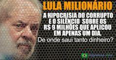 O silêncio de Lula, da Globo e dos artistas petistas sobre os R$ 9 milhões que ex-presidente aplicou em único um dia | Imprensa Viva