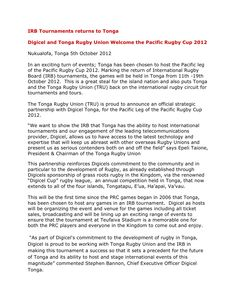 Digicel and Tonga Rugby Union Welcome the Pacific Rugby Cup 2012