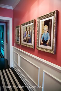 Traditional framed portraits in family halllway Decorating your walls with artwork of your family | Lincoln Park Family Photographer