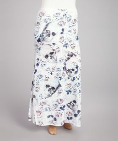 c380a79160 Pink & Blue Skull Rose Sublimation Maxi Skirt - Plus by Poliana Plus This  is cute, would be better in black or dark gray
