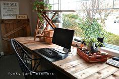 Funky Junk Interiors: Pallet Farm Table Desk ~ Part 3, the reveal