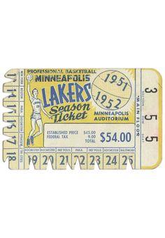 Minneapolis Lakers season ticket 1952. Boys Room Design, Basketball Tickets, Ticket Stubs, Season Ticket, Tri Cities, Vintage Lettering, Purple Yellow, Minneapolis, Creative Inspiration