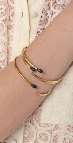 Brass Matchstick Bracelet Set.