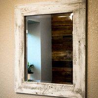 Whitewashed Reclaimed Wood Mirror