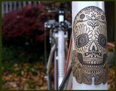 Day of the dead bike badge- bicycle head badge, bicycle accessories, etched brass, bicycle badge, dia de las muertos skull, sugar skull