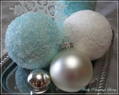 DIY Epsom Salt Ornaments and Candle by thriftyparsonageliving thriftyparsonageliving.You can use silver paint, red paint, green paint etc. You can also use glass ornaments as well as foam balls. Even use a little glitter!