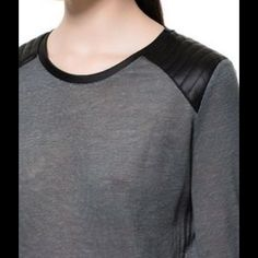 Zara Modern Girl Top Super awesome top. Dark grey semi see thru linen. Shoulders are mostly a polyester that is a padded leather look. No flaws. Zara Tops Tees - Long Sleeve