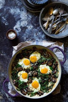 Spinach Mushrooms and Leeks via Baked Eggs via Bakers Royale