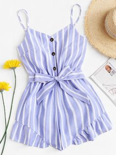 Shop Self Tie Waist Striped Romper online. SheIn offers Self Tie Waist Striped Romper & more to fit your fashionable needs. Cute Lazy Outfits, Summer Outfits For Teens, Teenage Girl Outfits, Girls Fashion Clothes, Summer Fashion Outfits, Teenager Outfits, Girly Outfits, Pretty Outfits, Fashion Sets