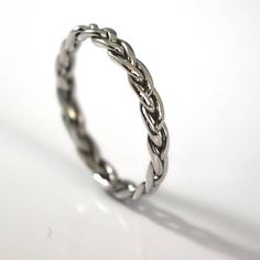 Platinum Braided Wedding Band, Handcrafted by an Award Winning Jeweler Unique Wedding Bands, Unique Weddings, Or Rose, Rose Gold, Simple Jewelry, Make And Sell, Silver Rings, Bronze, Jewels