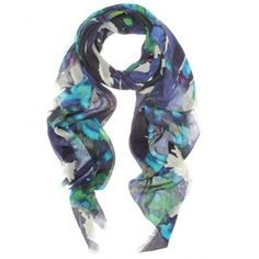 Like the colors on this one... Erdem Midnight Ocean Print Scarf - Polyvore