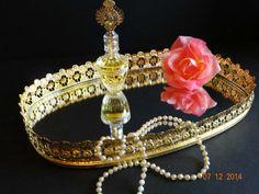 Vintage Gold Mirrored Vanity Tray Hollywood Regency by TimelessTreasuresbyM on Etsy