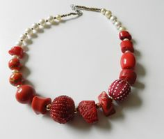 Beaded Coral and Vintage Bead Necklace by https://www.etsy.com/shop/LilacMannequin