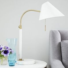 """Mid-Century Task Table Lamp - White; $119 each; pair for bedside lighting; 8.4""""W x 18""""D x 20.4""""H; love the brass details and pull-chain"""