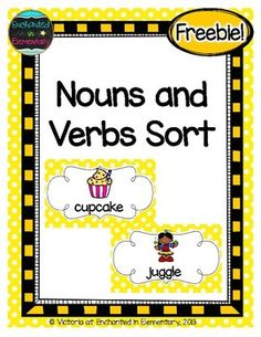 This is a nouns and verbs card sort with a recording sheet. Included are: *Nouns and Verbs header cards cards to sort nouns and 12 verbs). Each card has a picture and a word. page recording sheet *Full page recording sheet *Printable answer Nouns Kindergarten, Kindergarten Pictures, Nouns And Verbs Worksheets, Nouns And Adjectives, Verb Games, Word Games For Kids, Word Sorts, Word Pictures, Esl