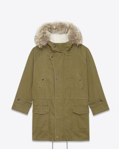 saintlaurent, Hooded Parka in Khaki Cotton and Linen Gabardine, Ivory Shearling and Coyote Fur