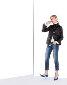 AUG '14 Style Guide: J.Crew women's quilted puffer jacket, toothpick Japanese Selvedge in Hulton wash, and Elsie suede pumps.
