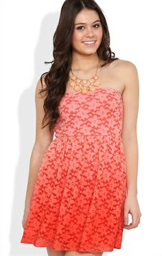 Deb Shops Strapless #Ombre Lace #Dress with Open Knot Back $21.00