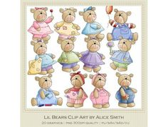 Lil Bears Clip Art by Alice Smith
