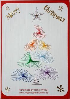 Grußkarten-Set W 053 - Motiv: Weihnachtsbaum 02 Rainbow - Doppelkarte mit Umschlag Format A6