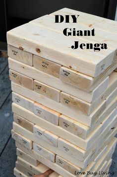 The post Love Bug Living: DIY Giant Jenga Outdoor Game Fun party game. appeared first on Outdoor Ideas. Outdoor Parties, Outdoor Fun, Outdoor Jenga, Yard Jenga, Giant Outdoor Games, Indoor Games, Outdoor Ideas, Outdoor Party Decor, Homemade Outdoor Games