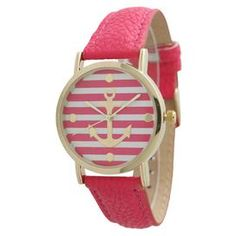 """The perfect accent for work apparel and casual weekend ensembles, this timeless watch features a hot pink leather band and striped face with a nautical anchor motif.   Product: WatchConstruction Material: Alloy, stainless steel, leather and glassColor: Hot pinkFeatures:  Adjustable buckleGlass has a protective mineral coatingStriped face Anchor detailAccommodates: Battery - includedDimensions: 9"""" W x 0.75"""" D (flat)"""