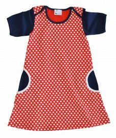 L'Asticot red & navy spotty dress - organic cotton
