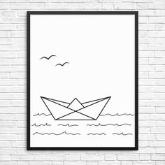 Minimalist wall art print with paper boat by InkySplashShop. Scandi and nautical style black and white art for your modern home decor. Paper boat Minimalist art print. Nautical Scandinavian Modern wall art. Paper ship Black and white printable wall decor. Instant download