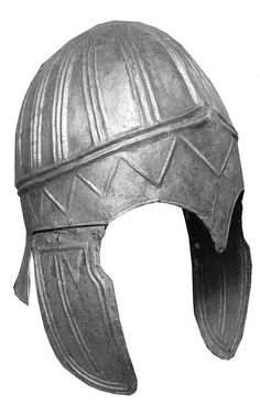This bronze helmet was also found on the surface and depicts zigzags, ridges and other shapes hard to put into words. It is more than 8 inches long and 6 inches in width. Russia, 3rd century BC-2nd Century AD