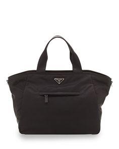Prada Vela Nylon Tote Bag with Strap, Black (Nero) ***diaper bag in navy