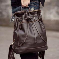 c5db94063172 Handmade Genuine Leather Women s Backpack Day Pack Satchel Travel Bag in  dark brown (m36)