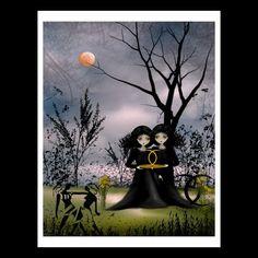 Zodiac Goth Girl 8x10 Art Print GEMINI by RusticGoth on Etsy, $15.00