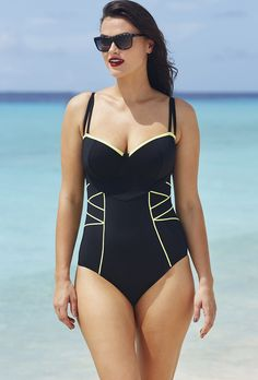 Robyn Lawley Noir/Limoncello Criss Cross One Piece