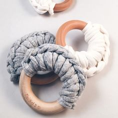 These crochet and wood teething rings are perfect for your little babes to chew on while those teeth are coming in. They are crocheted with a super soft jersey cotton T-shirt material. They are sure t