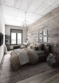 Schlafzimmer Deko - This is a bold master bedroom that focuses on modern decor, but focuses on keepi. Modern Rustic Bedrooms, Rustic Bedroom Design, Master Bedroom Design, Trendy Bedroom, Modern Decor, Bedroom Designs, Master Bedrooms, Rustic Design, Rustic Room