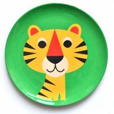 melamine plate #tiger by #Ingela P #Arrhenius from www.kidsdinge.com https://www.facebook.com/pages/kidsdingecom-Origineel-speelgoed-hebbedingen-voor-hippe-kids/160122710686387?sk=wall #kidsdinge