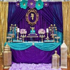 We will give you various easy decor ideas for your reference Princess Sweet 16, Princess Jasmine Party, Royal Princess, Aladdin Birthday Party, Aladdin Party, 1st Birthday Party Decorations, Boy Birthday Parties, Festa Tema Arabian Nights, Arabian Nights Party
