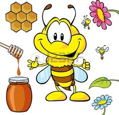 funny bee cartoon with honey Bee Rocks, Honey Spoons, Cartoon Online, Bee Cakes, Honeycomb, Adobe Illustrator, Vector Art, Honey Bees, Colouring