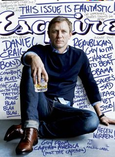 """Daniel Craig Esquire -- love the """"we didn't have time to design a real cover"""" idea"""