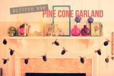 Pine Cone Garland Christmas Holiday decor - fun holiday DIY using Martha Stewart Crafts