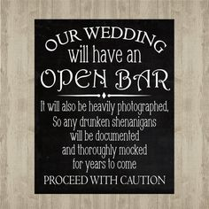 Open Bar Wedding Sign Dark Stained Rustic Decor 10x20 Pinterest Signs Walnut And Plywood