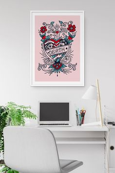 Illustration print by Fluorama inspired by classic tattoo art. Tattoo Posters, Classic Tattoo, Love Tattoos, Tattoo Art, Etsy Seller, Gallery Wall, Graphic Design, Art Prints, Wall Art