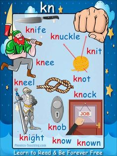kn Phonics Poster - a FREE PRINTABLE poster for auditory discrimination, sound studies, vocabulary and classroom reference.