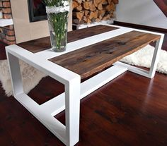 Handmade Reclaimed Wood & Steel Coffee Table - Modern Rustic Industrial Coffee Table