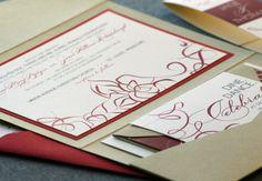 Red wedding Invitation...Elegant wedding Invitation.