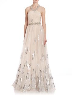 Badgley Mischka - Foiled Tulle Butterfly Gown